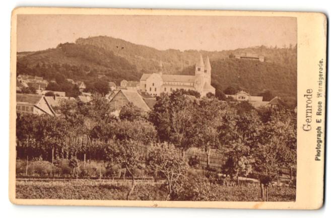 Fotografie E. Rose, Wernigerode, Ansicht Gernrode, Ortsansicht mit Kathedrale 0