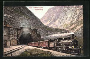 AK Expresszug der Gotthardbahn verlässt den Tunnel