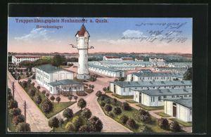AK Neuhammer a. Queis, Truppenübungsplatz, Barackenlager mit Wasserturm