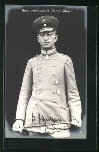 Foto-AK Sanke Nr. 378: Leutnant Wintgens, Kampfflieger, Pour le Mérite