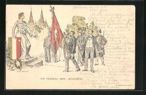 Lithographie Neuchatel, Tir Federal 1898