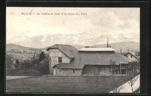 AK Mezieres, Le Theatre du Jorat et la chaine des Alpes