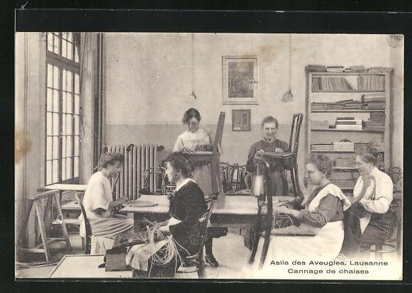 AK Lausanne, Asile des Aveugles, Cannage de chaises