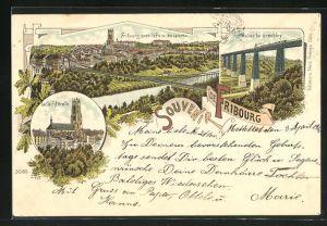 Lithographie Fribourg, Viaduc de Grandfey, La Cathédrale, Ville avec le Pont suspendu