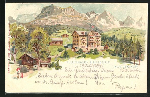 Lithographie Axalp, Hotel Kurhaus Bellevue mit Bergpanorama