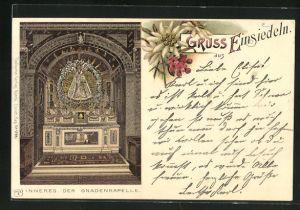 Lithographie Einsiedeln, Inneres der Gnadenkapelle, Edelweiss
