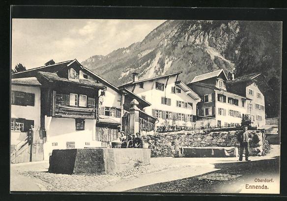 AK Ennenda, Häuser im Oberdorf