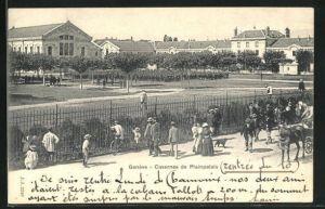 AK Genève, Casernes de Plainpalais, Schaulustige am Zaun der Kaserne