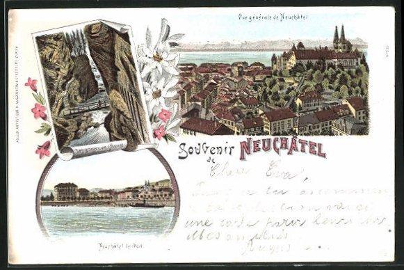 Lithographie Neuchâtel, Les gorges de l`Areuse, le PortVue générale