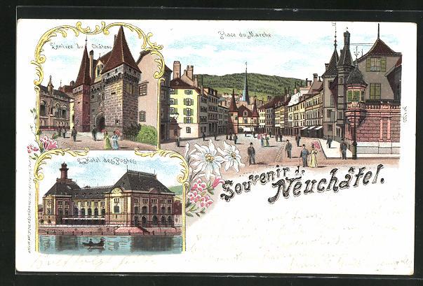 Lithographie Neuchâtel, Entrée du Château, Place du Marche, Hotel des Postes