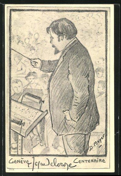 AK Genève / Genf, Emile Jaques-Dalcroze, Portrait des Dirigenten