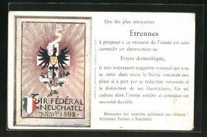 AK Neuchatel, Tir Federal 1898, Adler u. Wappen