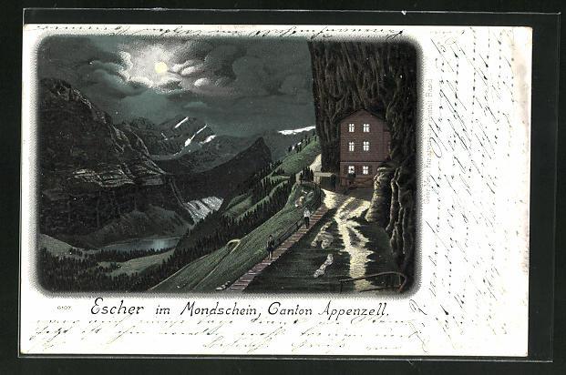 Lithographie Weissbad, Gasthaus Aescher, Ortspartie im Mondschein