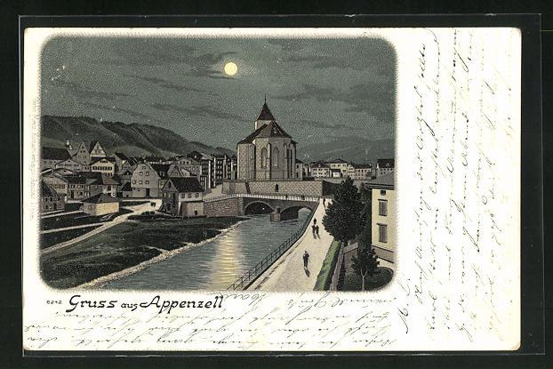 Lithographie Appenzell, Teilansicht bei Mondschein