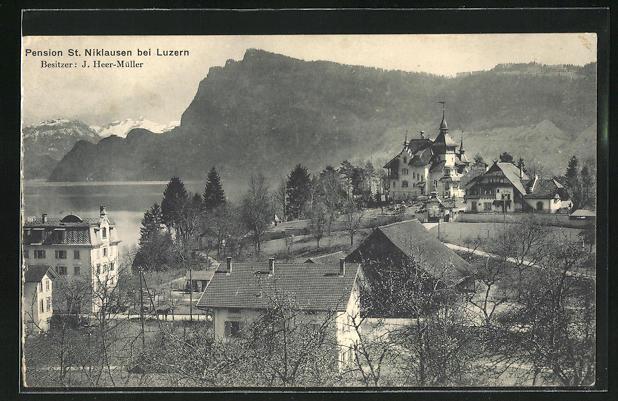 AK St. Niklausen b. Luzern, Ortsansicht mit Pension St. Niklausen