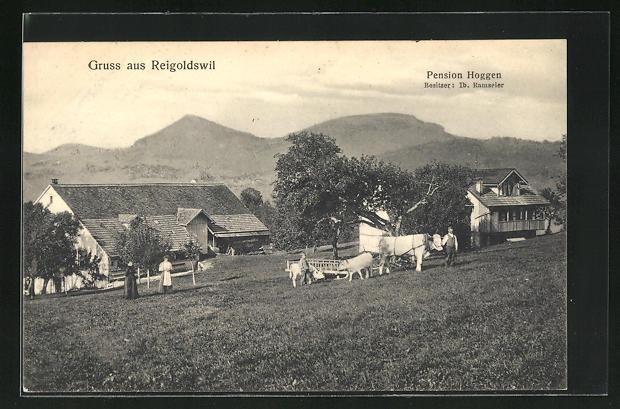 AK Reigoldswil, Ortsansicht mit Pension Hoggen