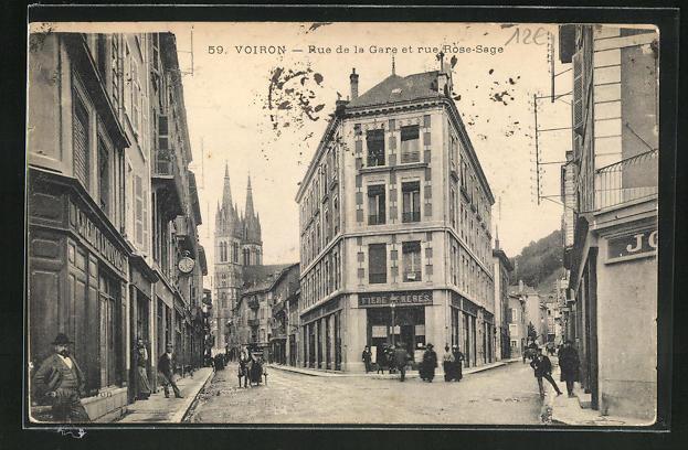 AK Voiron, Rue de la Gare et rue Rose-Sage 0