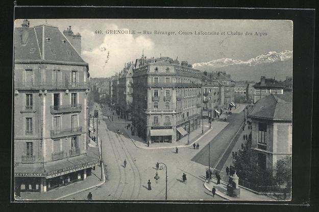 AK Grenoble, Rue Beranger, Cours Lafontaine et Chaine des Alpes 0