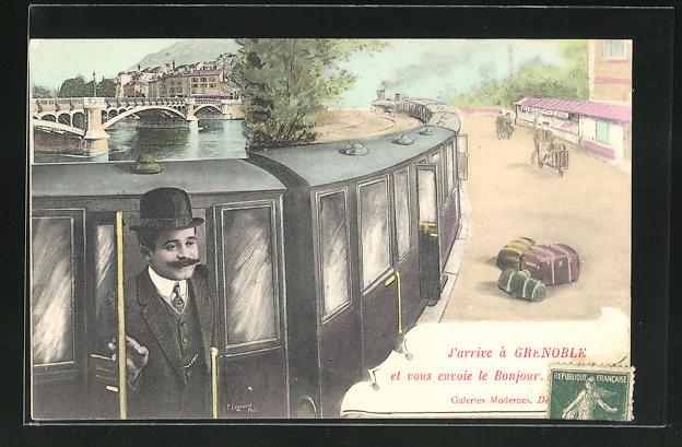 AK Grenoble, J'arrive et vous envoie le Bonjour, Mann blickt auf dem Zug 0