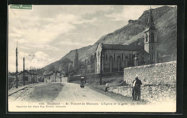 AK St-Vincent-de-Mercuze, L'Eglise et la gare 0