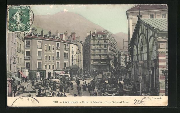 AK Grenoble, Halle et Marche, Place Sainte-Claire 0