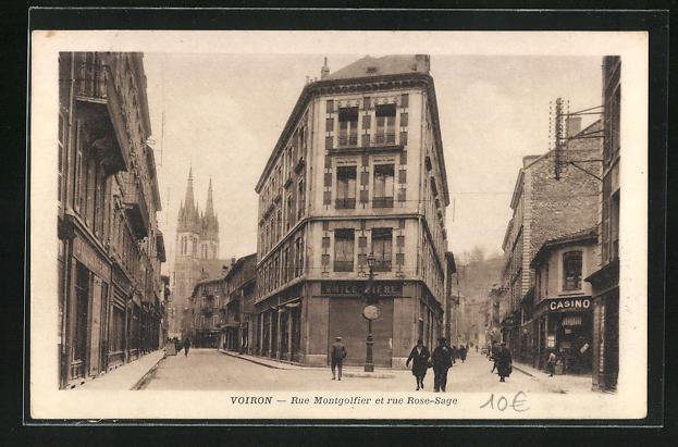 AK Voiron, Rue Montgolfier et rue Rose-Sage, Strassenpartien