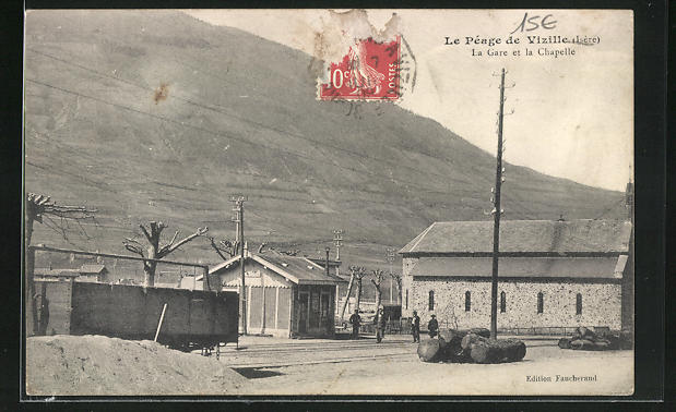 AK Vizille, Le Peage, La Gare et la Chapelle 0