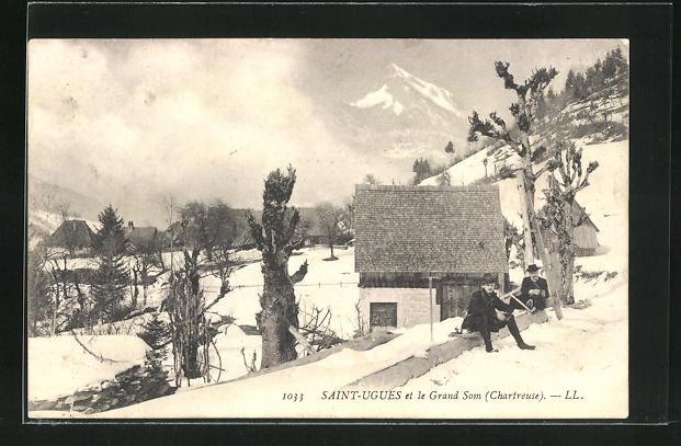 AK Saint-Ugues, Ortsansicht mit Grand Som im Winter 0