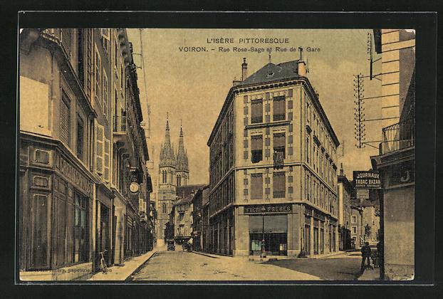 AK Voiron, Rue Rose-Sage et Rue de la Gare, Strassenpartien