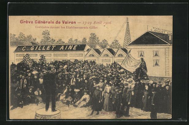 AK Voiron, Greve Generale 1906, Grevistes devant les Etablissements Gillet 0