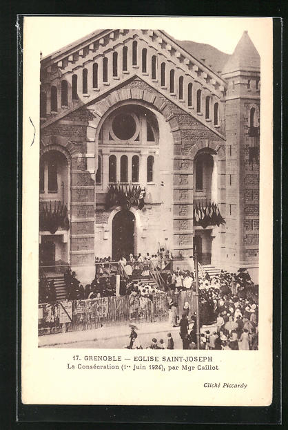 AK Grenoble, Eglise Saint-Joseph, La Consécration 1924 par Mgr Caillot