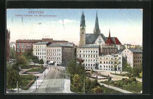 AK Stettin, Grüne Schanze mit Manzelbrunnen