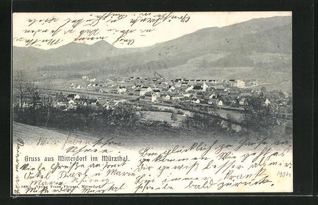 AK Mitterdorf im Mürzthal, Ortsansicht