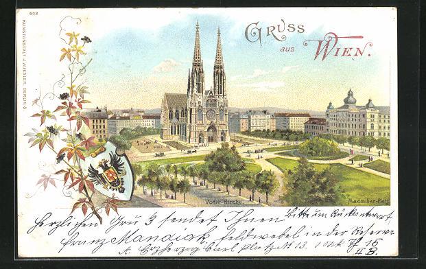Lithographie Wien, Maximilian-Platz mit Votiv-Kirche