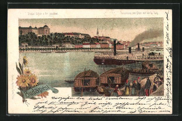 Lithographie Budapest, Panorama von Ofen mit königl. Burg