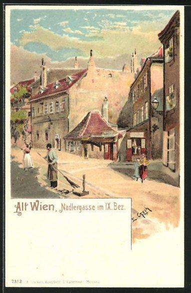 Lithographie Wien, Nadlergasse im IX. Bezirk