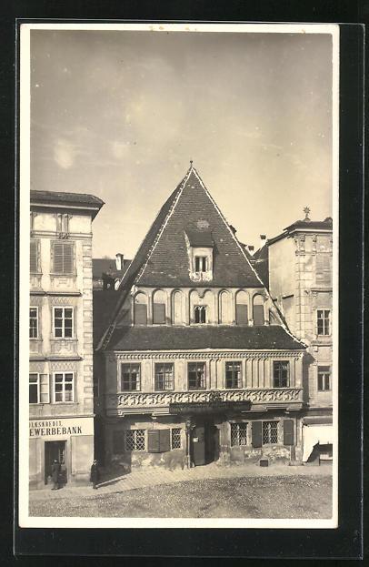 Foto-AK Steyr, Blick auf ein altes Haus