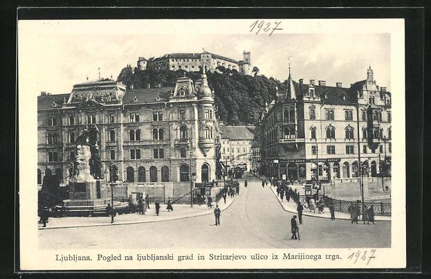 AK Ljubljana / Laibach, Pogled na ljubljanski grad in Stritarjevo ulico iz Marijinega trga