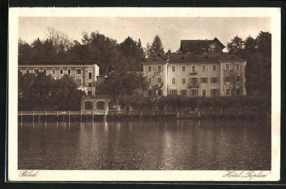 AK Bled / Veldes, Uferpartie mit Hotel Toplice