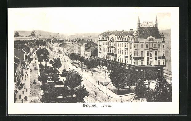 AK Belgrad, Terasia, Ortsansicht aus der Vogelschau