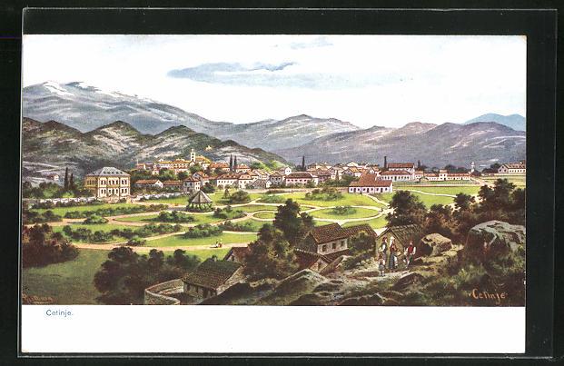 Künstler-AK Cetinje / Cettigne, Gesamtansicht mit Gebirge