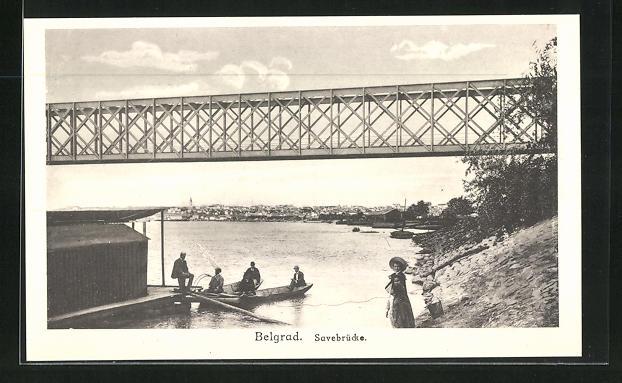 AK Belgrad, Savebrücke u. Bootsfahrer