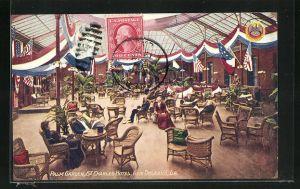 AK New Orleans, LA, Palm Garden, St Charles Hotel, Innenansicht