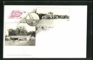 AK Detroit, MI, Bridge-Belle Isle Park, Pavillon, Segelboot