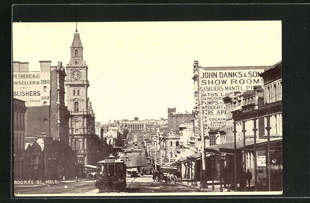 AK Melbourne, Bourke Street, Strassenbahn