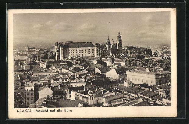 AK Krakau-Krakow, Gesamtansicht mit Blick auf die Burg