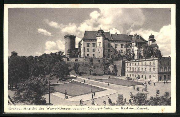 AK Krakau-Krakow, Ansicht des Wawel-Berges von der Südwest-Seite