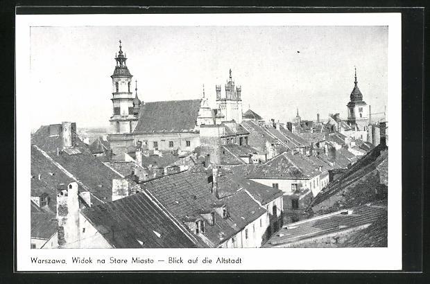 AK Warschau-Warszawa, Widok na Stare Miasto