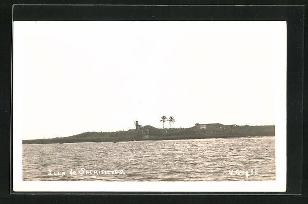 AK Isla de Scrificios, Blick zur Insel vom Meer aus