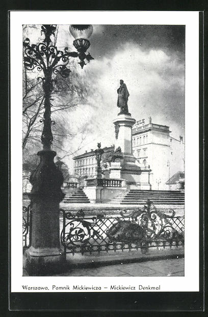 AK Warschau-Warszawa, Pomnik Mickiewicza